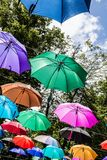Colorful umbrellas - decoration. Colorful umbrellas against the sky - a street decoration Stock Photography