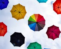 Colorful umbrellas - decoration. Colorful umbrellas against the sky - a street decoration Stock Image
