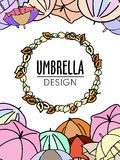 Colorful umbrellas autumn theme design in soft pastel colors Royalty Free Stock Images
