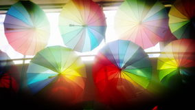 Colorful umbrellas background stock video