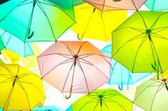 Colorful umbrellas background Stock Photos