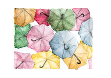 Colorful umbrellas background. Watercolor painting Stock Photography