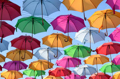 Colorful umbrellas with blue sky Royalty Free Stock Images