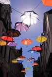 Colourful umbrellas with blue sky Royalty Free Stock Photo