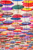 Colorful umbrellas on the ceiling. Of the largest mall in the world Dubai Mall UAE Royalty Free Stock Photography