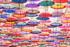 Colorful umbrellas on the ceiling. Of the largest mall in the world Dubai Mall UAE Royalty Free Stock Photo