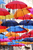 Colorful umbrellas. Collection of colorful umbrellas in the street Royalty Free Stock Photos