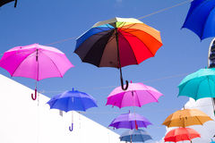 Colorful umbrellas - decoration Royalty Free Stock Images