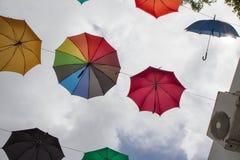 Colorful umbrellas - decoration Stock Photography
