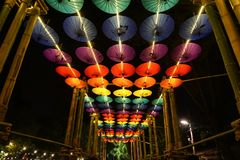 Umbrellas decoration at night in Chiang Mai Flower Festival, Thailand Stock Photo