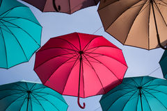 Colorful umbrellas flying in dreams Royalty Free Stock Images