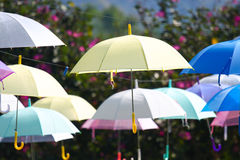 Colorful of umbrellas hang on the sky with blue sky background. Stock Images