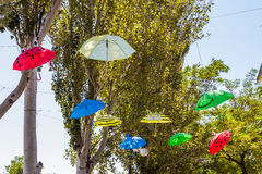 Colorful umbrellas hanging outside. And trees Royalty Free Stock Image