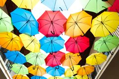 Colorful umbrellas hanging over the alley. Kosice, Slovakia Royalty Free Stock Image