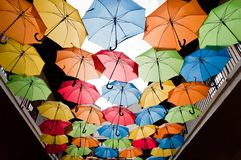 Colorful umbrellas hanging over the alley. Kosice, Slovakia Stock Photography