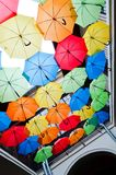 Colorful umbrellas hanging over the alley. Kosice, Slovakia Royalty Free Stock Images