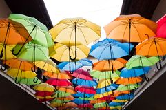 Colorful umbrellas hanging over the alley. Kosice, Slovakia Stock Photo