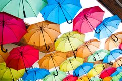 Colorful umbrellas hanging over the alley. Kosice, Slovakia Stock Image