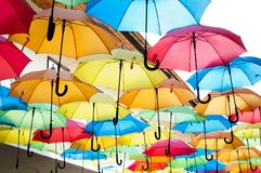 Colorful umbrellas hanging over the alley. Kosice, Slovakia Royalty Free Stock Photos