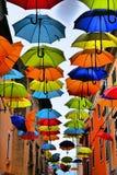 Colorful umbrellas in Novigrad stock photos