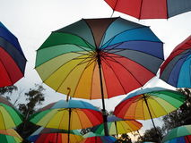 Colorful umbrellas in Herastrau Park Bucharest Rom Royalty Free Stock Images