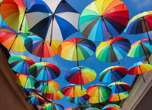 Colorful Umbrellas in the Street Stock Photography
