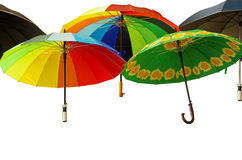 Colorful umbrellas isolated on white Royalty Free Stock Image