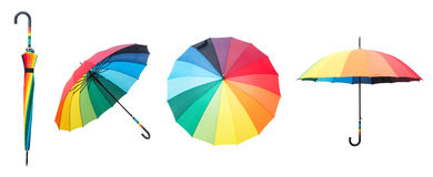 Colorful umbrellas isolated on a white background. Royalty Free Stock Image