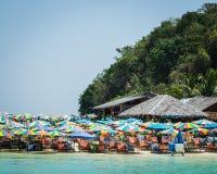 Colorful umbrellas on khai island Stock Photos
