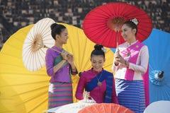 Colorful umbrellas. Lanna Umbrella,Boo Slang,Chiang Mai, handmade product colorful umbrellas make look beautiful with great colors and umbrella patterns on eye Royalty Free Stock Photo