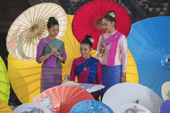 Colorful umbrellas. Lanna Umbrella,Boo Slang,Chiang Mai, handmade product colorful umbrellas make look beautiful with great colors and umbrella patterns on eye Royalty Free Stock Images
