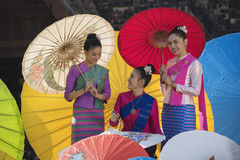 Colorful umbrellas. Lanna Umbrella,Boo Slang,Chiang Mai, handmade product colorful umbrellas make look beautiful with great colors and umbrella patterns on eye Stock Image