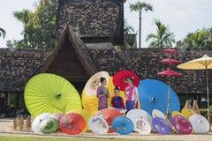 Colorful umbrellas. Lanna Umbrella,Boo Slang,Chiang Mai, handmade product colorful umbrellas make look beautiful with great colors and umbrella patterns on eye Stock Photo
