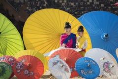 Colorful umbrellas. Lanna Umbrella,Boo Slang,Chiang Mai, handmade product colorful umbrellas make look beautiful with great colors and umbrella patterns on eye Royalty Free Stock Photos