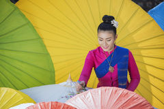 Colorful umbrellas. Lanna Umbrella,Boo Slang,Chiang Mai, handmade product colorful umbrellas make look beautiful with great colors and umbrella patterns on eye Stock Images