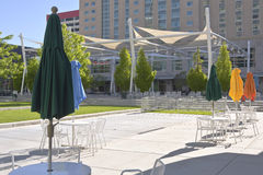 Colorful umbrellas and large tent in downtown Salt Lake City. Royalty Free Stock Image