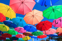 Colorful umbrellas. A lot of umbrellas with different colors Stock Photos