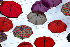 Colorful umbrellas. Lot of colorful umbrellas in the sky Stock Images
