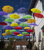 Colorful Umbrellas on Main Street Stock Photography