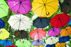Colorful umbrellas. Many colorful umbrellas strung across the street on natural background under the branches of trees in the green park Royalty Free Stock Photo