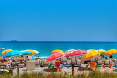 Free Colorful Umbrellas On South Beach In Miami Florida. Royalty Free Stock Image - 171609126