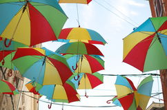 Colorful Umbrellas Over the Street Horizontal Royalty Free Stock Photos
