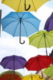Colorful Umbrellas Over the Street Vertical Royalty Free Stock Photo