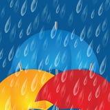 Colorful umbrellas and raindrops stock illustration