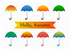 Colorful umbrellas on a rainy background. Vector illustration Royalty Free Stock Image