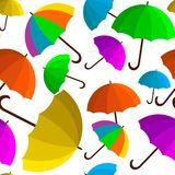 Seamless vector pattern with colorful umbrellas. Colorful umbrellas in a seamless pattern, children s umbrella from done, shelter from the rain, packing paper Royalty Free Stock Photos