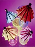 Colorful Umbrellas in Shot Glasses Stock Images
