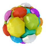 Colorful umbrellas in sphere. 3D rendering stock illustration