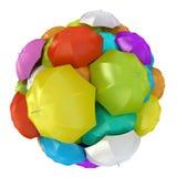 Colorful umbrellas in sphere. 3D rendering Stock Images