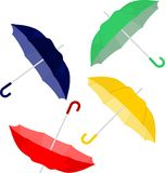 Colorful umbrellas. Spread umbrellas and parasols in different colors Royalty Free Stock Photography